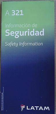 Chile 2016 Latam Airlines Airbus 321 Safety Information Card