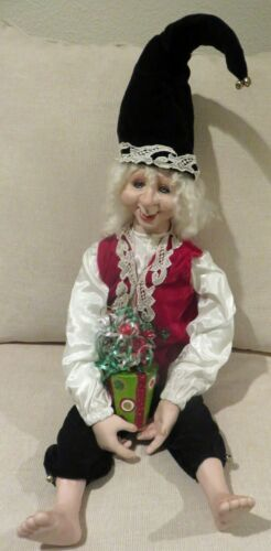 """Christmas Porcelain Elf Doll 32""""  To Top of Hat Posable Quality"""