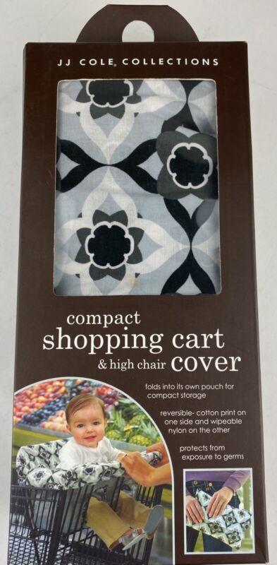 JJ Cole Collection Compact Infant Shopping Cart & High Chair Cover Black Gray
