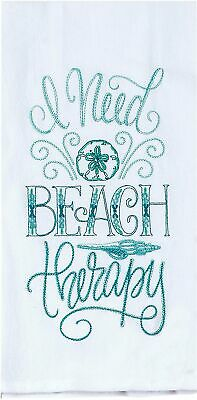 Kay Dee Designs Beach Therapy Embroidered Flour Sack Towel One Size White