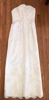 Handmade Vintage Taffeta Wedding Dress Strapless Beaded Alecon Lace, Train Sz 2