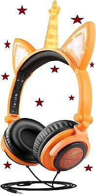 Unicorn Headphones LED Light Up Earphone Wired Colorful Foldable Ear