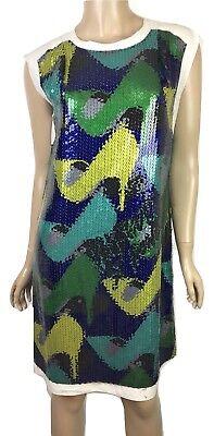 Lanvin Sequin Embellished Shift Dress New Sz 36/2-4 Sleeveless Blue Green $2745