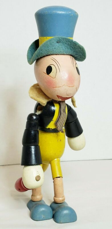 """1938 Jiminy Cricket Wooden Jointed Doll Toy Walt Disney Ideal Toy Company 8.5"""""""
