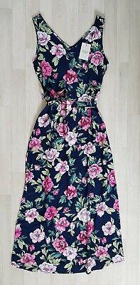 JACQUELINE DE YONG size 10 navy FLORAL MAXI DRESS summer MATCHING BELT pink