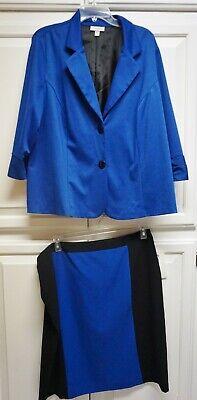 Dress Barn PLUS slimming Suit 2 Piece Jacket 2x & Skirt 16w NEW royal & black