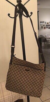 GUCCI GG Pattern Cross Body Shoulder Bag Brown Vintage