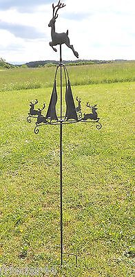 Windrad Hirsch Eisen grau Windspiel Windmühle Gartendeko Gartendekoration 6085