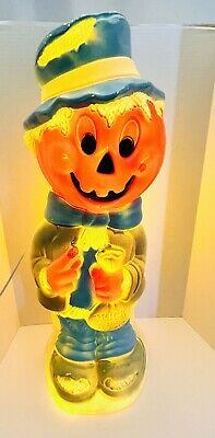 "VTG Empire Halloween Scarecrow Trick Or Treat Pumpkin 33.5"" Lighted Blowmold"