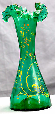 TALL HAND BLOWN HAND PAINTED GREENL GLASS VASE  VERY GOOD COND 12X5 inches