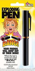 EXPLODING TRICK BANG PEN COOL JOKE FUNNY SHOCK SURPRISE GADGET BOYS TOY GIFT