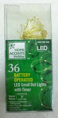 Home Accents 36 Battery Powered LED SMALL DOT Lights With Timer Gold Wire ()
