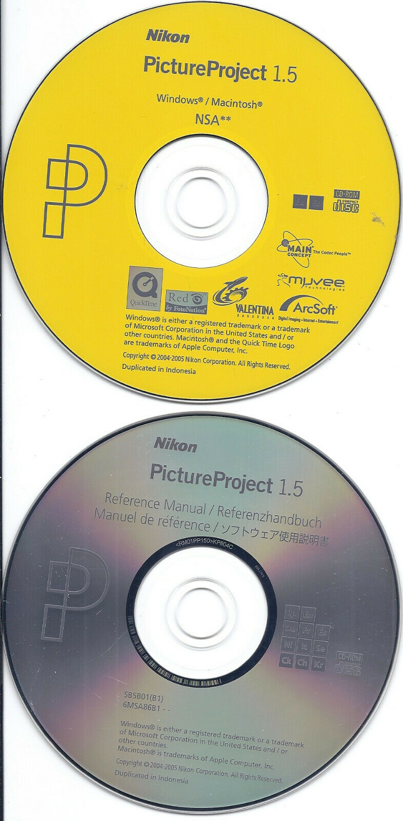 Nikon PictureProject 1.5 Software CD & Reference Manual CD (PC & MAC, 2005)
