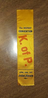 Antique 1912 Knights of Pythias District Convention Ribbon - Joliet Illinois