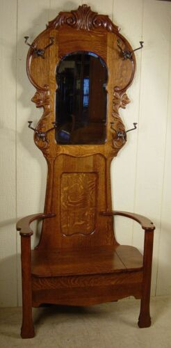 Antique Oak Hall Stand with original hooks