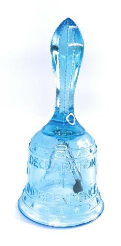 """Vintage Mosser Glass Light Blue American Bicentennial Liberty Bell 6"""" Rare"""