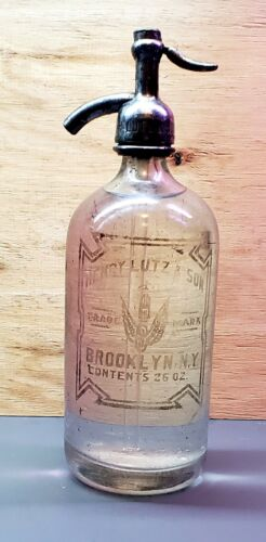 ANTIQUE VINTAGE SELTZER BOTTLE-HENRY LUTZ & SON BROOKLYN, N.Y.