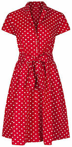 1940s-WW2-Retro-Vintage-Style-Red-Polka-Dot-Belted-A-Line-Shirt-Dress-NEW-8-28