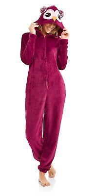 Body Candy Women's Owl Pajama Union Suit Plush One Piece Sleepwear Hood Small