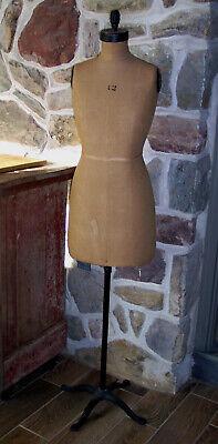 Antique Vintage Dress Form Mannequin Cloth 12 Cast Iron Stand Nice