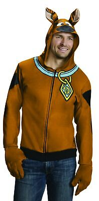 Scooby-Doo Adult Hoodie Costume Dog Sweater with Gloves Mystery Solvers (Adult Scooby Doo Costume)