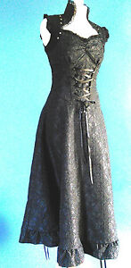 VICTORIAN STYLE GOTH STEAMPUNK BURLESQUE LONG BLACK DRESS LACE JAWBREAKER SMALL