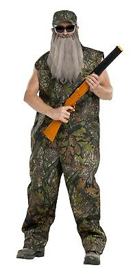 Duck Hunter Dynasty Camouflage Coveralls Overalls Jumpsuit Beard Costume Mens - Mens Hunter Costume