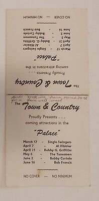 """RARE VINTAGE (ONTARIO?) """"THE TOWN & COUNTRY W/ THE PALACE"""" DANCE HALL TABLE CARD"""