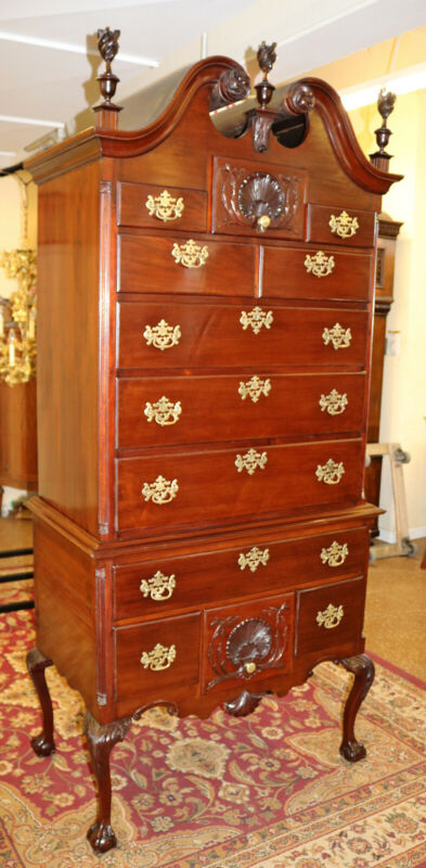 Stunning 19th Century Chippendale Centennial Philadelphia Mahogany Highboy Chest