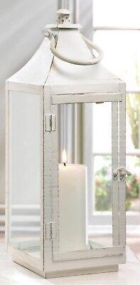 BULK LOT DISCOUNTS Large Distressed White Traditional Pillar Candle Lantern