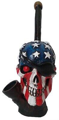 Patriot Biker Skull Figurine Tobacco Smoking Pipe - Not -
