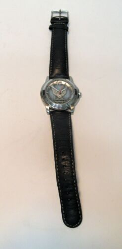 HARLEY DAVIDSON MOTORCYCLES BULOVA WRISTWATCH 76A12 PREOWNED LEATHER BAND !!!!!