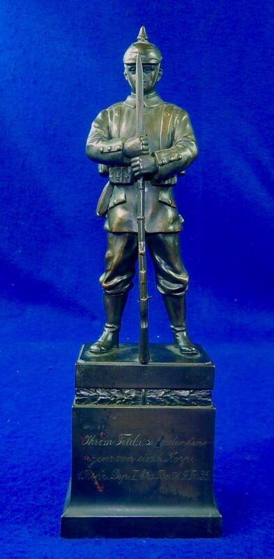 German Germany Antique WW1 Presentation Soldier Metal Figurine Statue Sculpture