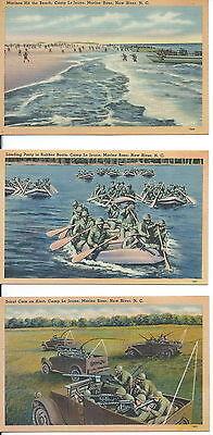 USMC MILITARY POSTCARDS ORIGINAL WW2 PERIOD CAMP LEJEUNE NC.