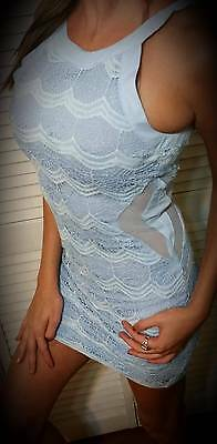 SKY BLUE SEXY CROCHET LACE HALTER MESH CUTOUT COCKTAIL HOLIDAY PARTY MINI DRESS