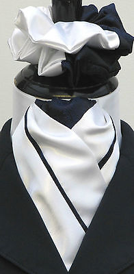 Ready Tied White & Navy Blue Faux Silk Dressage Riding Stock & Scrunchie - Show