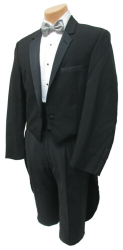 Boys Size 7 Black Tuxedo Tailcoat Long Tails White Tie Wedding Ringbearer