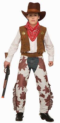 Cowboy Kid Costume Cowboy Chaps Vest Hat & Bandana Kids Size Medium - Cowboy Chaps Costume