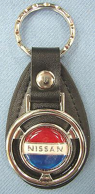 (Vintage NISSAN Mini Steering Wheel Black Leather Keyring Key Fob Key Holder )