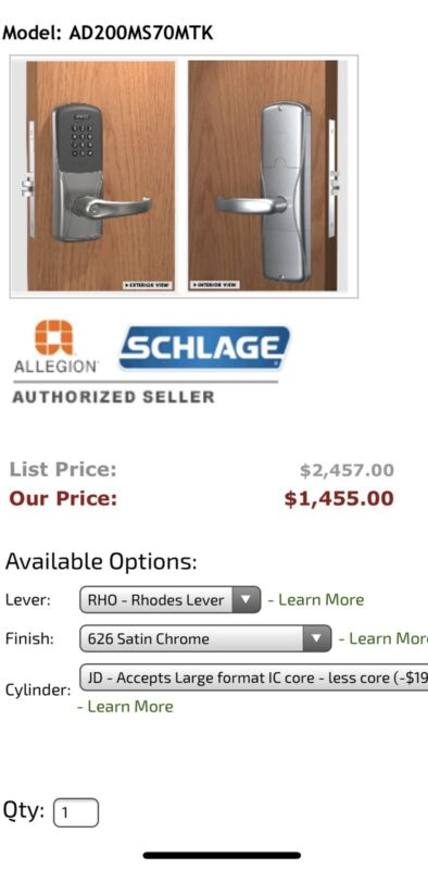 Schlage AD200MS70 MTK SPA 626 JD CO6 RH Keypad Lock