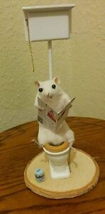Taxidermy Mouse on toilet Mens Unusual Christmas Xmas gift Birthday Goth Pet Cat