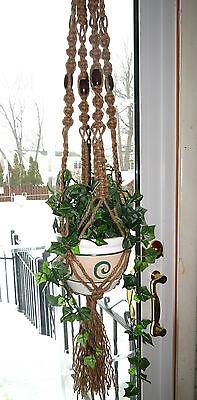 Jute Macrame Plant Hanger, Vintage 70s Hanging Planter, Large Rope Pot Holder