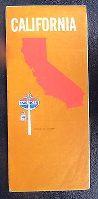 1970 California  road  map American  oil gas San Francisco Los Angeles