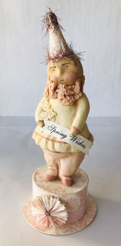 Dee Foust for Bethany Lowe Spring Wishes Girl Clown Figurine on Trinket Box