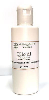 OLIO DI COCCO PURO BIO USO COSMETICO, NUTREI I CAPELLI, IDRATANTE CORPO 125 ml.
