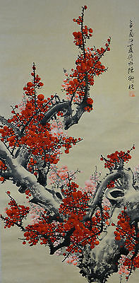 Vintage Chinese Watercolor Flower Wall Hanging Scroll Painting - Painting Scroll Wall Hanging Flower