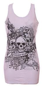 NEW WOMENS FOREVER YOUNG SKULL PRINTED LADIES VEST TOP TEE T-SHIRT SIZE SM & M/L