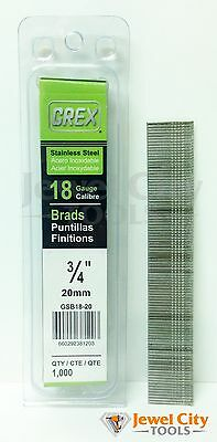 Grex 18 Gauge 34 Inch Long Stainless Steel Brad Nails - Gbs18-20 Qty 1000