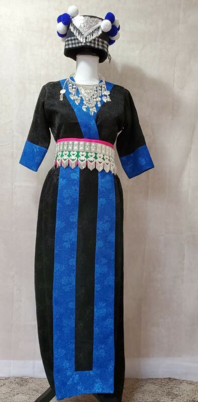 Beautiful Modern Hmong Handmade Blue And Black  Outfit. Comes With Hat, hlab