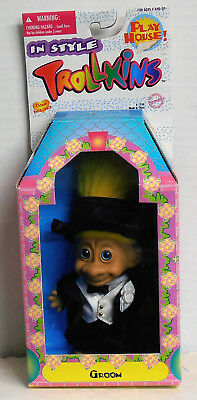 1998 Original Trollkins Groom Troll Figure New in Playhouse Box by Toymakers